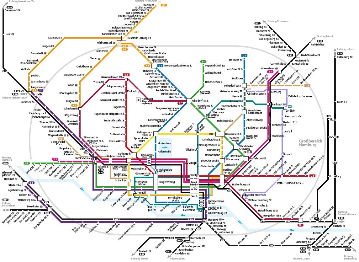 Hamburger S-/ U -Bahn Streckennetzplan hier klicken